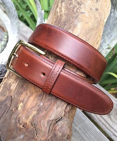 Wehmeier's Tan Saddle Leather Belt made in Louisiana, USA