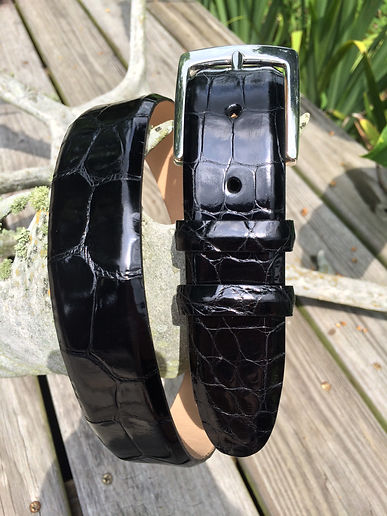 Wehmeiers Black Classic Belly Cut American Alligator Skin Leather Exotic Belt made in Louisiana, USA, Crocodile Belt
