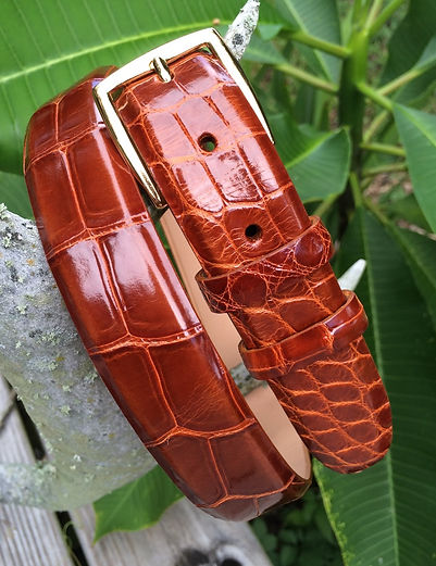 Wehmeiers Cognac Classic Belly Cut American Alligator Skin Leather Exotic Belt made in Louisiana, USA, Crocodile Belt