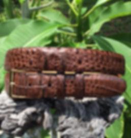 Wehmeiers Matte Brown Hornback American Alligator Skin Leather Exotic Belt made in Louisiana, USA, Crocodile Belt
