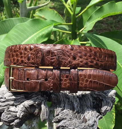 Wehmeiers Matte Brown Hornback American Alligator Skin Leather Exotic Belt made in Louisiana, USA, Crocodile Belt