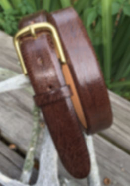 Wehmeiers Brown South African Ostrich Leg Skin Leather Exotic Belt made in Louisiana, USA