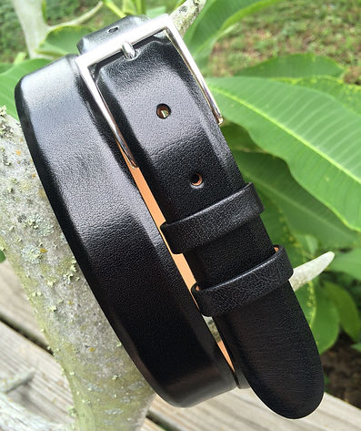 Wehmeiers Black Asian Water Buffalo Skin Leather Exotic Belt made in Louisiana, USA