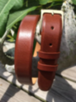 Wehmeiers Cognac Asian Water Buffalo Skin Leather Exotic Belt made in Louisiana, USA