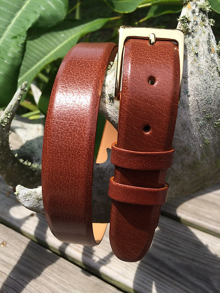 Wehmeiers Cognac Asian Water Buffalo Skin Leather Exotic Belt made in Louisiana, USA