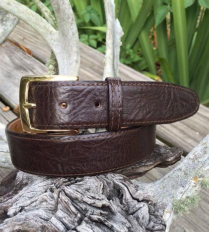 Wehmeiers Dark Brown Shrunken Bull Skin Leather Exotic Belt made in Louisiana, USA