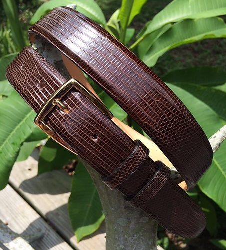 Wehmeiers Brown Java Lizard Skin Leather Exotic Belt made in Louisiana, USA