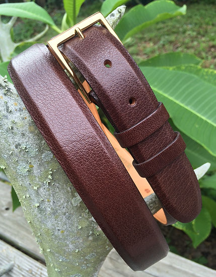 Wehmeiers Brown Asian Water Buffalo Skin Leather Exotic Belt made in Louisiana, USA