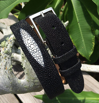 Wehmeiers Black Medallion Stingray Skin Leather Exotic Belt made in Louisiana, USA