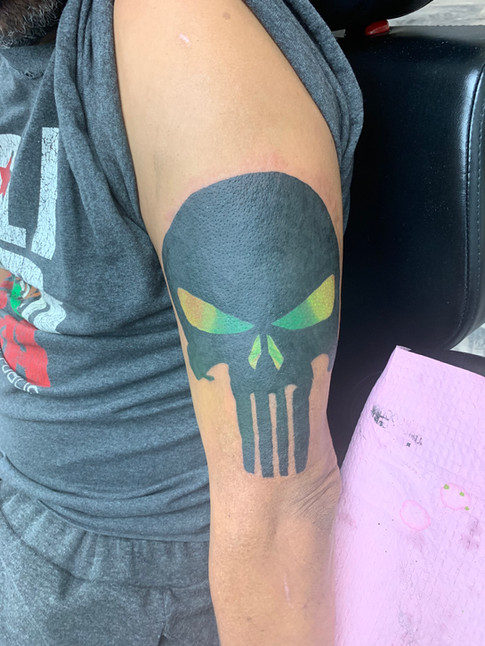 Punisher Skull Cover up tattoo