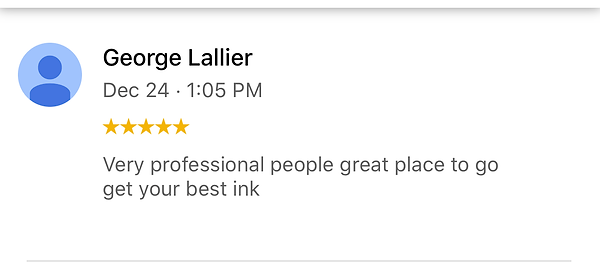 Very professional people great place to go get your best ink