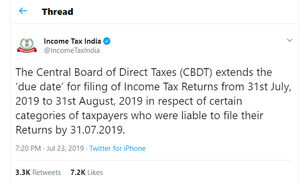 Deadline For Income Tax Return Filing Extended To August 31 2019