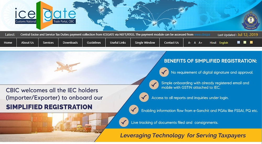ICEGATE Services, https://www.icegate.gov.in/, ICEGATE stands for the Indian Customs Electronic Commerce/Electronic Data interchange (EC/EDI) Gateway. ICEGATE is a portal that provides e-filing services to the trade and cargo carriers and other clients of Customs Department (collectively called Trading Partner). At present, about 24000 users are registered with ICEGATE who are serving about 6.72 lacs importer/exporter.ICEGATE links about 15/broad types partners with Customs EDI through message exchanges enabling faster Customs clearance and in turn facilitating EXIM Trade.