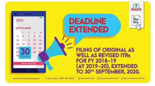 Extended date for filing Income Tax Return (ITR) for the AY 2019 -20 (FY 2018 -19)