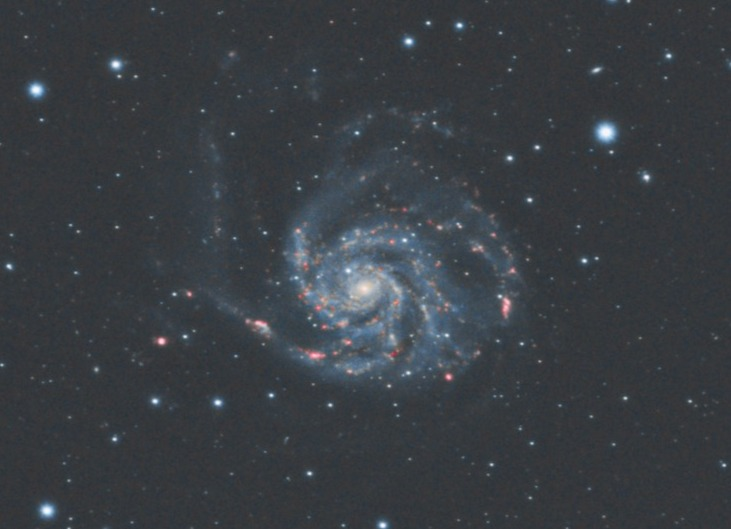 M101 with a telescope and a monochrome camera