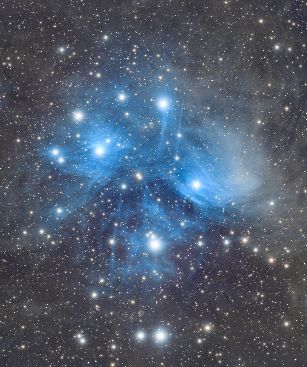 The Pleiades Star Cluster (M45) astrophotography SVX130 and QHY600C