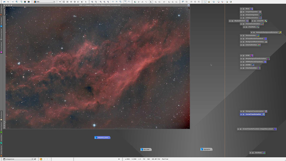 The California Nebula processing in PixInsight