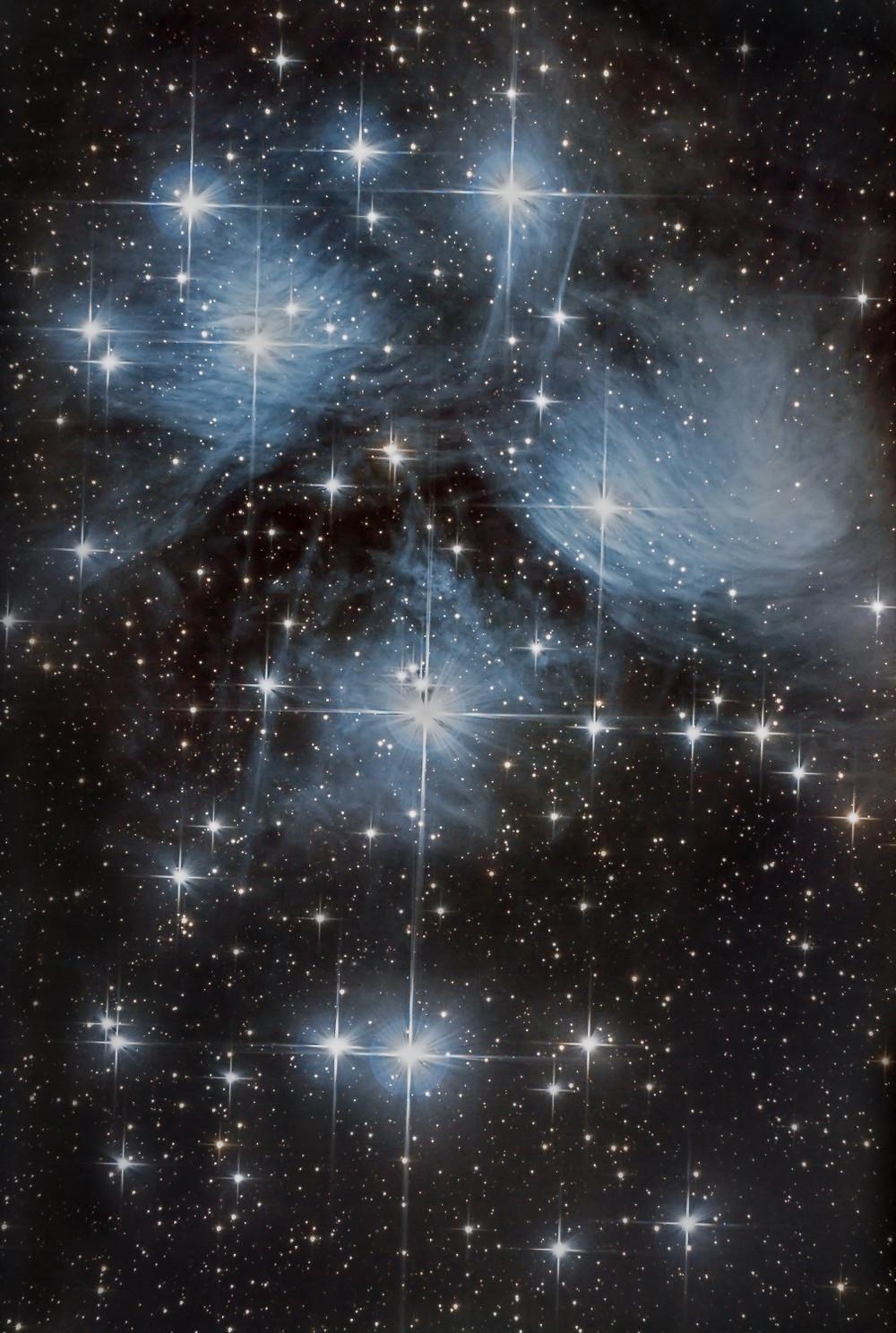 Messier 45 à l'APN non modifié, 2 heures de pose