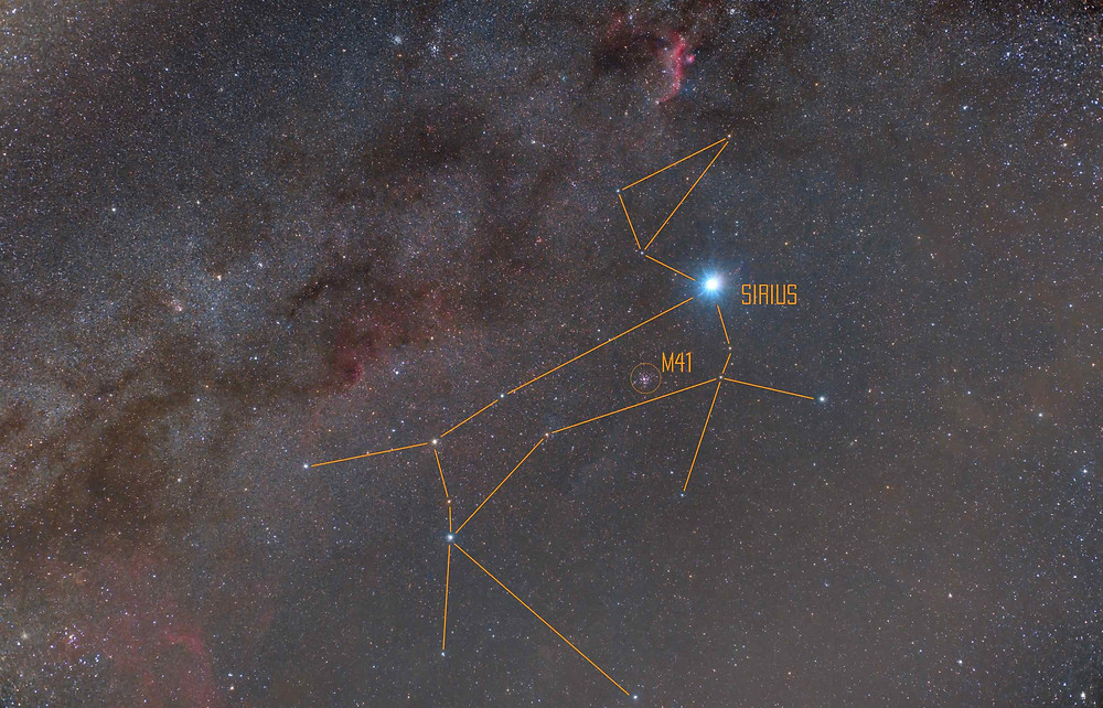 The constellation Canis Major outlined and annotated with Sirius and Messier 41