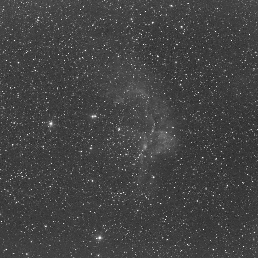 The Wizard Nebula, NGC 7380, 26 minutes of Sii with the ZWO ASI 1600MM Astrophotography camera