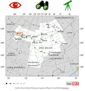 How to find the Pinwheel galaxy in the sky M101 map