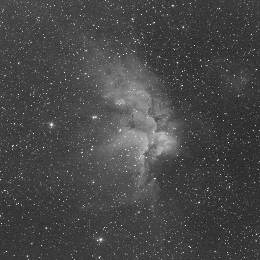 The Wizard Nebula, NGC 7380, 26 minutes of Ha with the ZWO ASI 1600MM Astrophotography camera