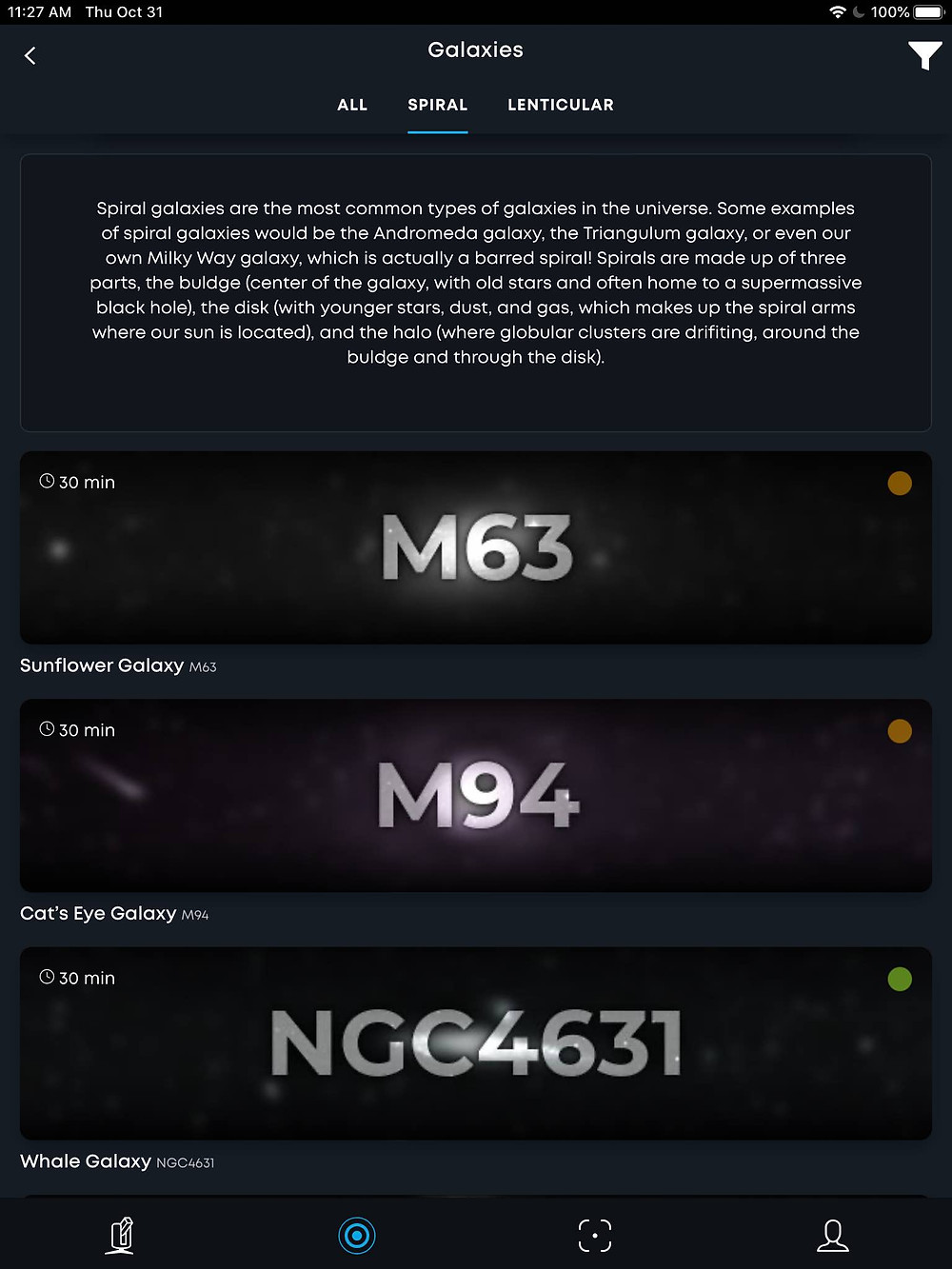 Galaxies tab in Stellinapp with colored dots for targets, Stellina app tutorial