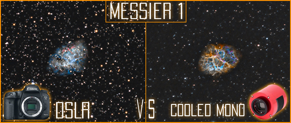Messier 1 the Crab Nebula DSLR vs Cooled Astrophotography camera