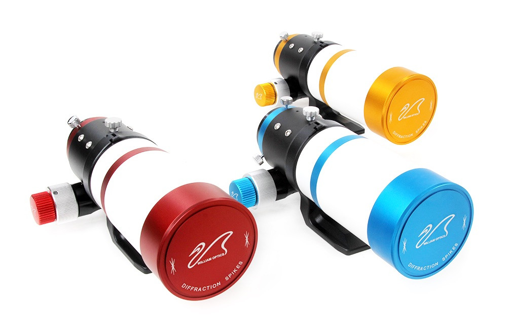 William Optics ZenithStar 61 f/5.9 telescope in red, blue and gold colors.