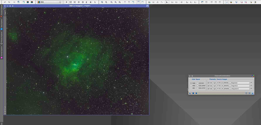 Channel Combination How to combine narrowband images in PixInsight, tutorial by Galactic Hunter in Hubble Palette