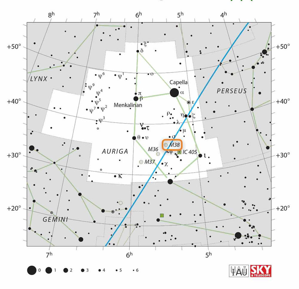 How to find the open Cluster Messier 38 in Auriga in the night sky, map
