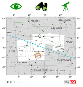 How to find the Helix Nebula (NGC 7293) in the night sky using a map and star hopping