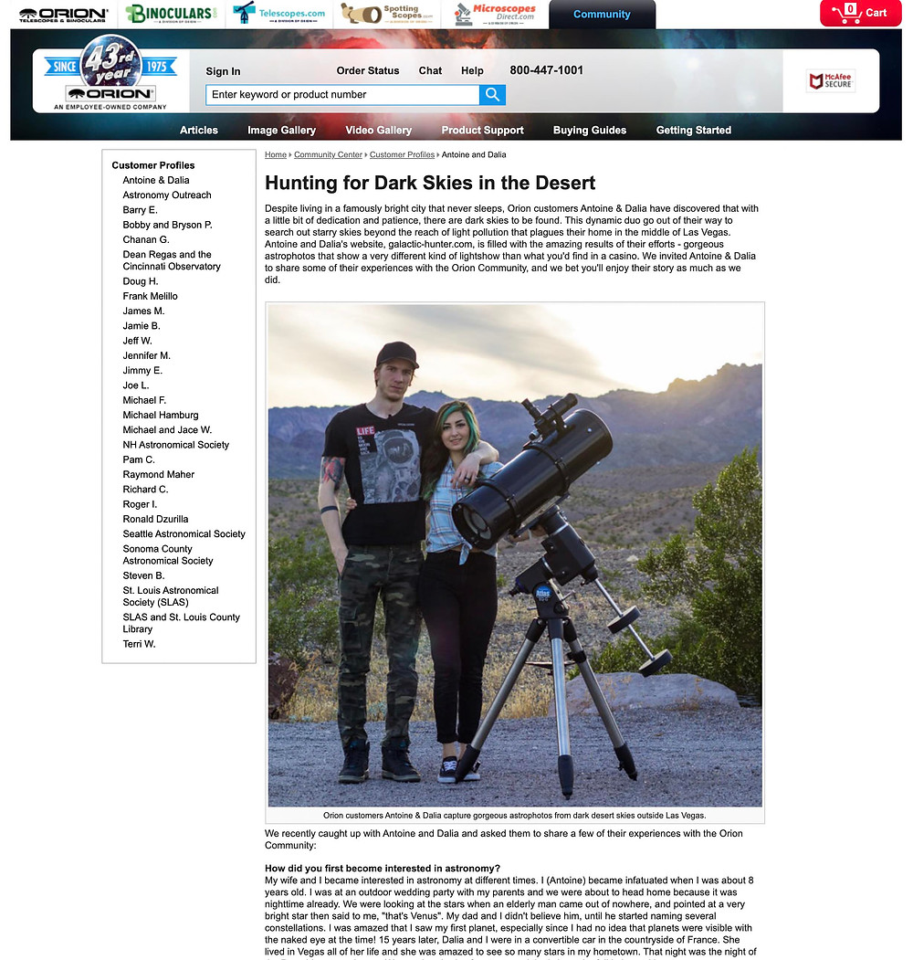 Galactic Hunter featured on Orion Telescopes and Binoculars Astrophotography with an unmodified DSLR camera