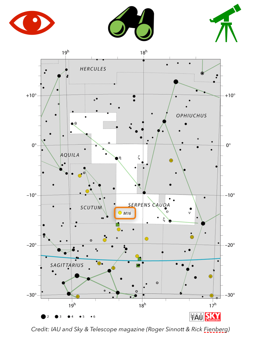How to find M16 the Eagle Nebula in the sky, constellation map