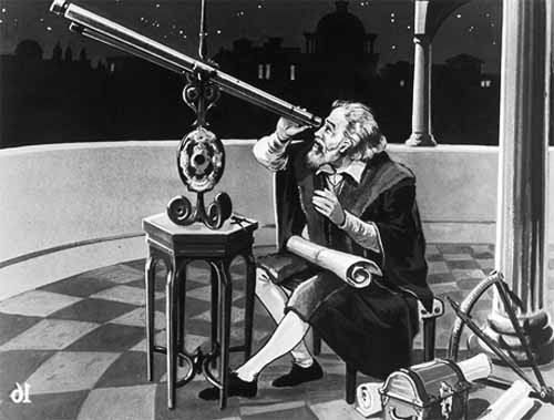 Galileo Galilei looking through a refractor telescope
