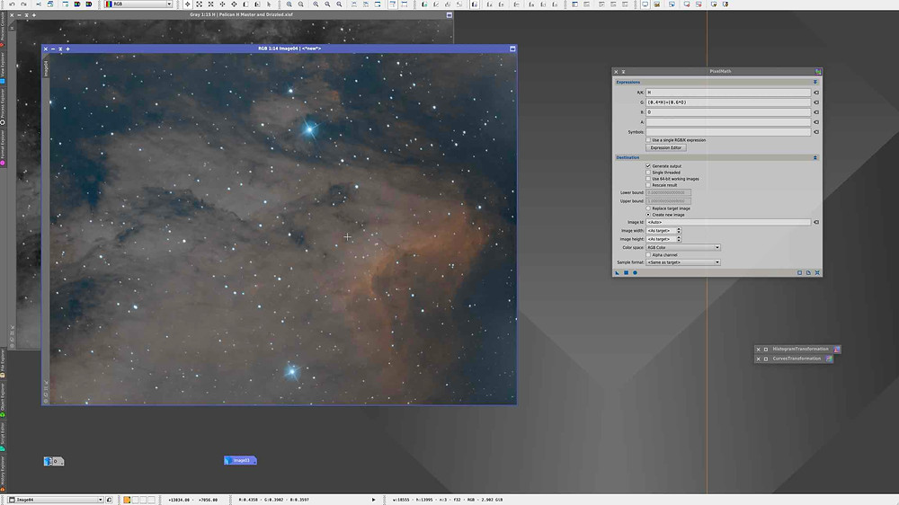 Pixelmath combination for bicolor images tutorial on Pixinsight using the Pelican Nebula as an example