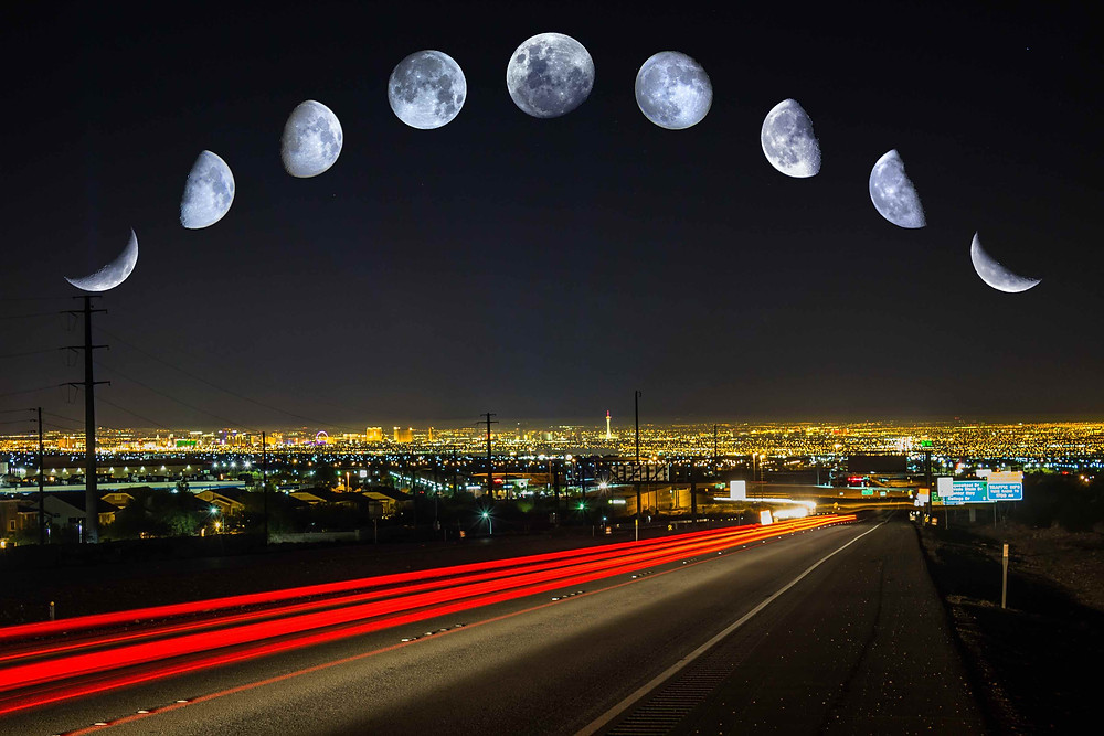 All the Phases of the Moon over Las Vegas DSLR Astrophotography using a Canon t3i and a tripod. sometimes binoculars with a point and shoot camera