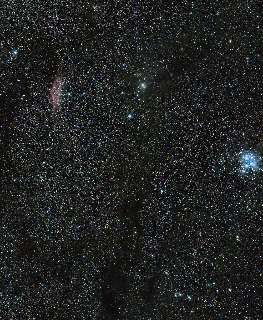 The Pleiades and The California Nebula photographed with a Canon DSLR camera t3i and a small star tracker from the Nevada desert.