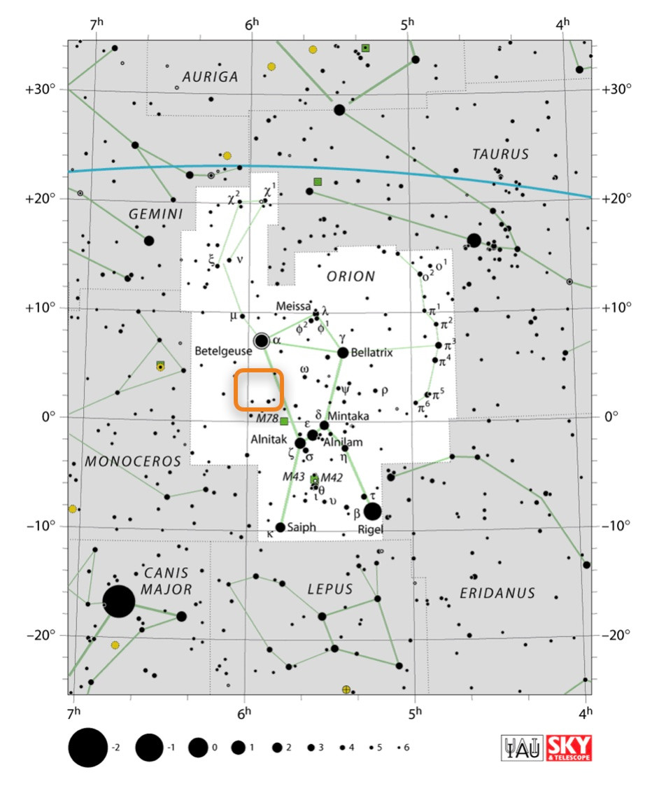 How to find the Boogieman Nebula LDN1622 in Orion, constellation map