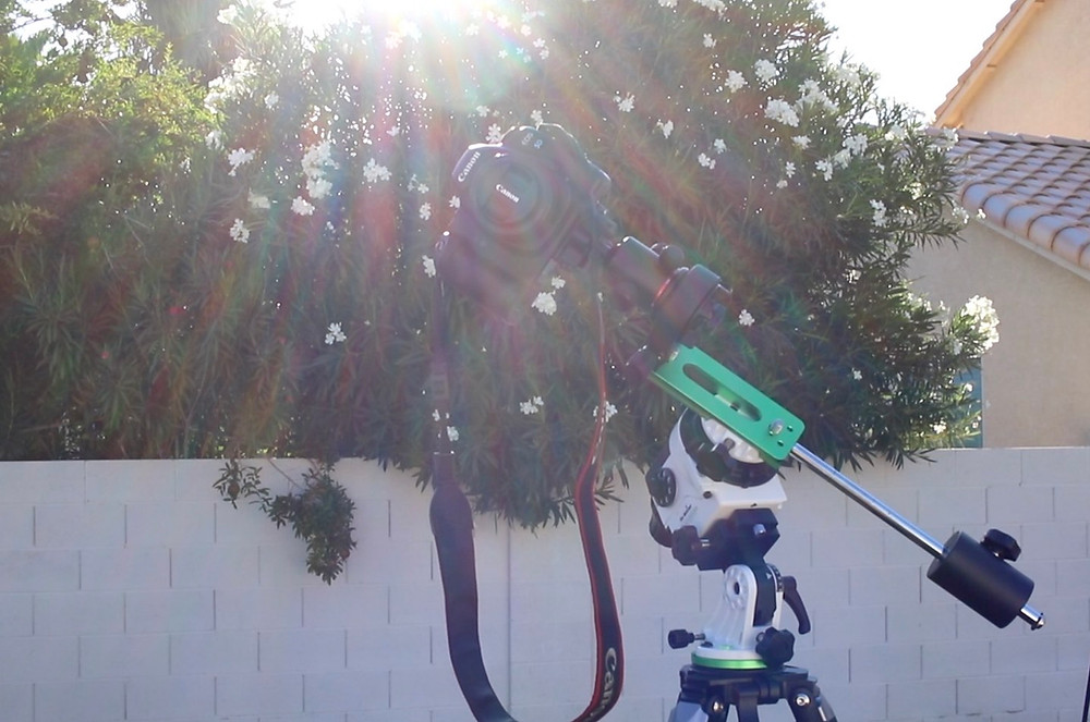 The Sky-Watcher Star Adventurer Pro, with a DSLR camera attached
