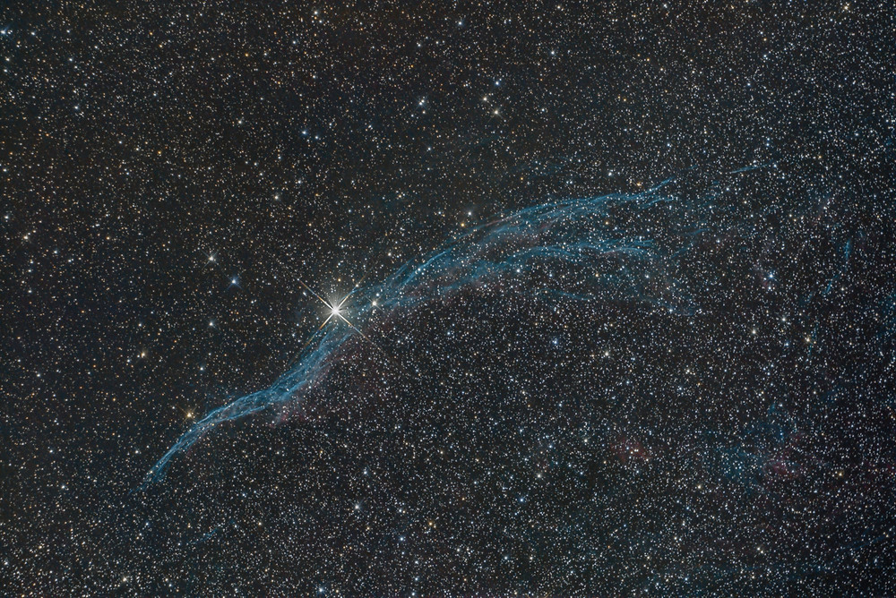 One hour and a half on the Veil Nebula with a stock DSLR camera