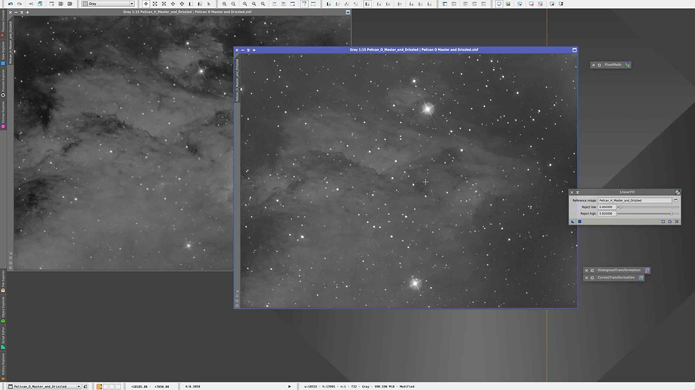 Linear Fit How to combine narrowband images in PixInsight, tutorial by Galactic Hunter in bicolor