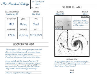 The Stargazer's Journal open to a page about the Pinwheel Galaxy M101 sketch and memories of the night