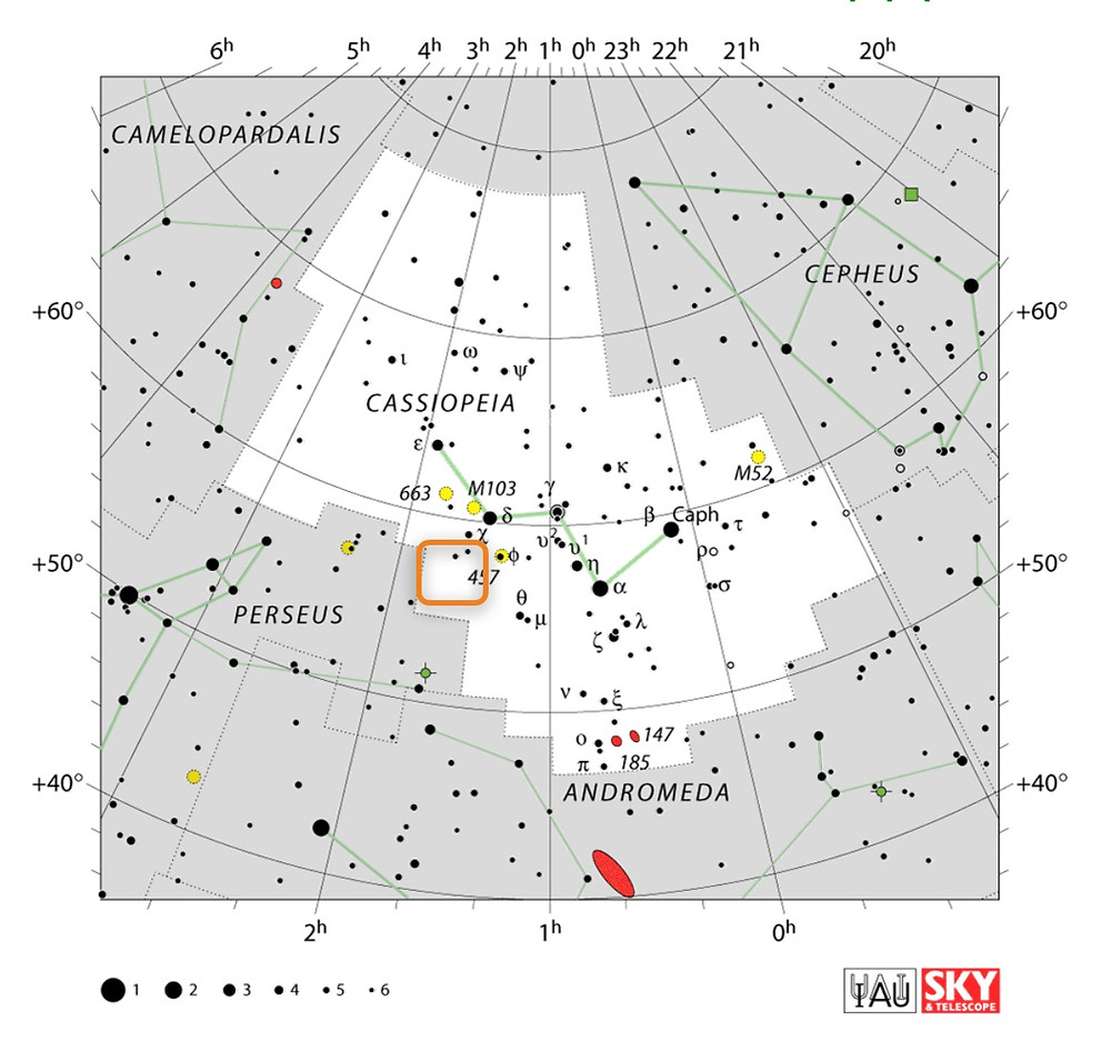 How to find the Cave Nebula Sh2-155 in Cepheus, constellation map