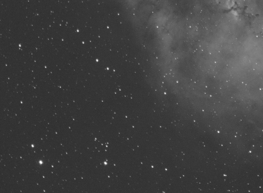 Crop on the Ha frame of the Rosette Nebula showing bad collimation and elongated stars in one corner
