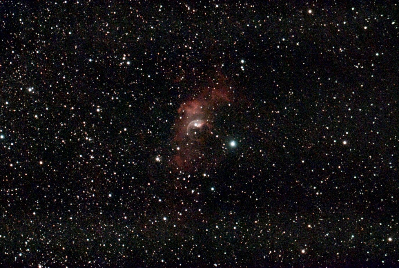 The Bubble Nebula Astrophotography taken with Stellina from Vaonis, Galactic Hunter