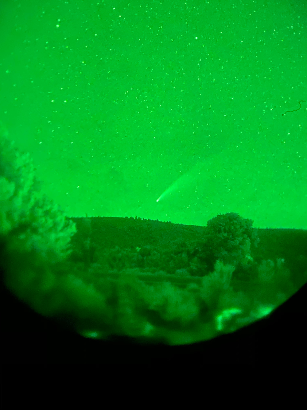 Comet NEOWISE through night vision goggles