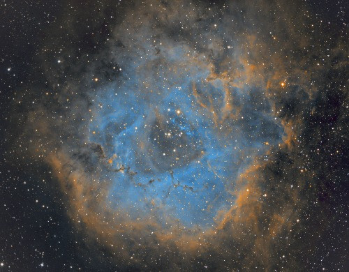 The Rosette Nebula in narrowband 3 hours from a Bortle 2 zone