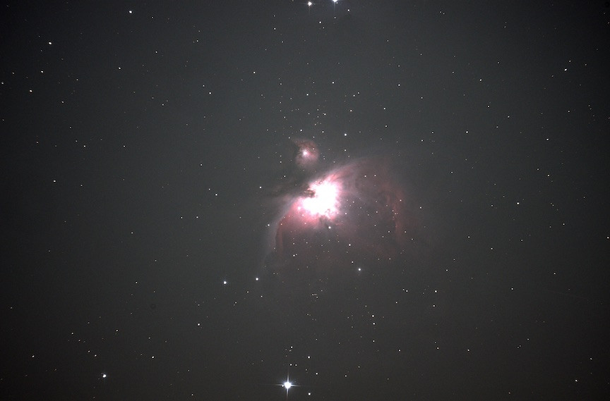 The Orion Nebula with the TRIAD ultra filter, single shot 30 seconds