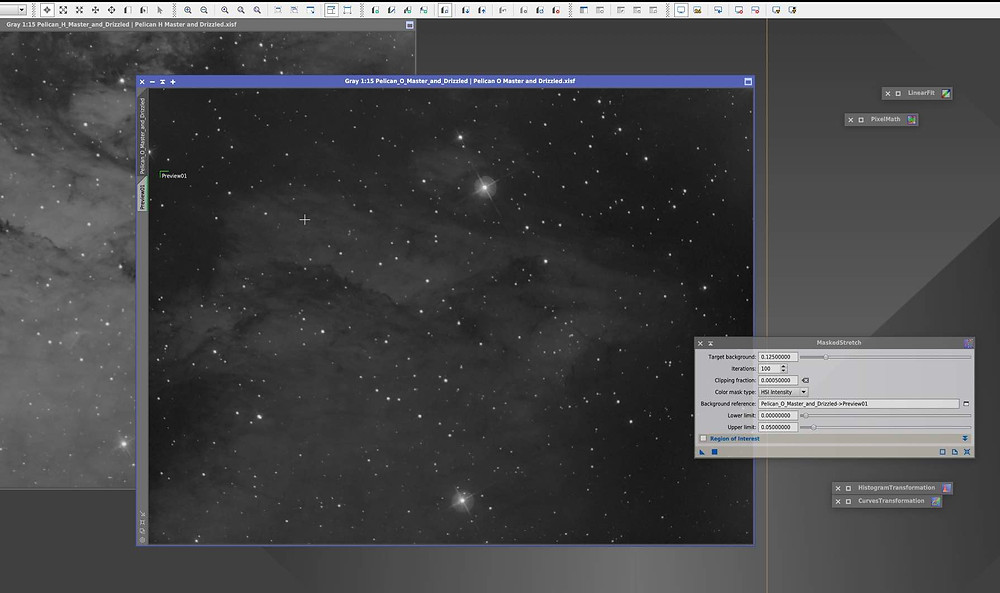 Matched Stretched How to combine narrowband images in PixInsight, tutorial by Galactic Hunter in bicolor